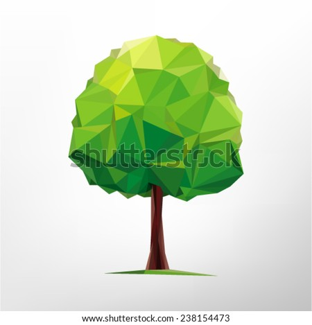 Tree abstract isolated on a white background  (illustration of a many triangles) - stock vector