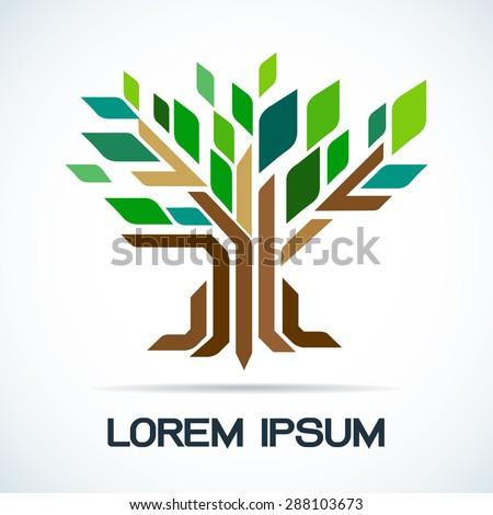 Tree abstract symbol logo vector illustration - stock vector
