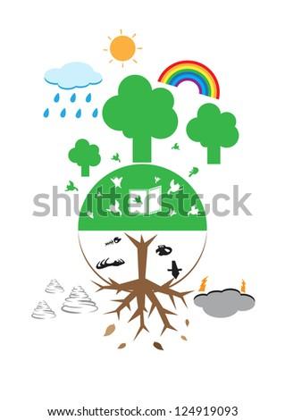Tree and the world vector cartoon - stock vector