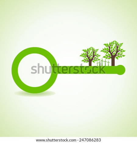 Tree and wind-mill on the key- vector illustration - stock vector