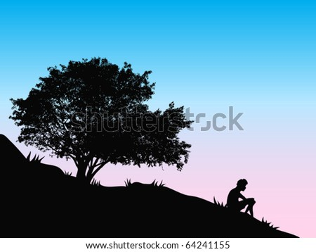 tree at sunset - stock vector
