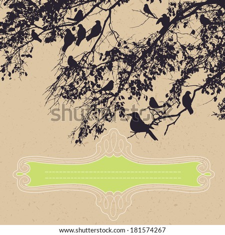 Tree Branch and Birds - stock vector