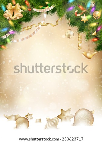 Tree branches with golden baubles, vertical banner. EPS 10 vector file included - stock vector