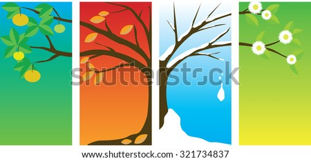 tree changing in four seasons - stock vector