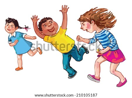Tree Children running together. Children illustration for School books, magazines, advertising and more. Separate Objects. VECTOR. - stock vector