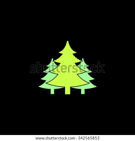 Tree, Christmas fir tree. Color vector icon on black background - stock vector