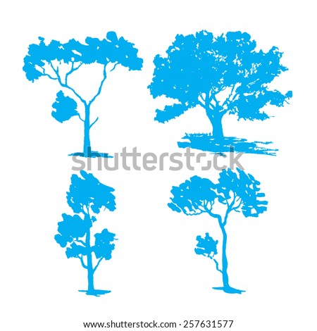 Tree collection - vector silhouette illustration - stock vector