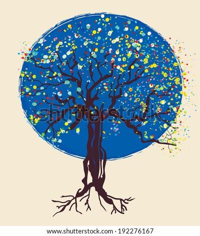 Tree decorative design at night illustration - stock vector