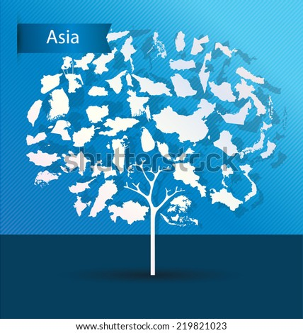 Tree design. Countries in Asia. World Map vector Illustration. - stock vector