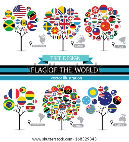 Tree design. Map. Flag of the world. vector Illustration. - stock vector