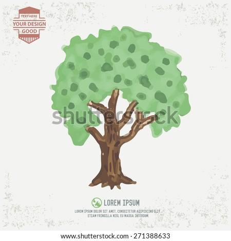 Tree design, water color concept - stock vector
