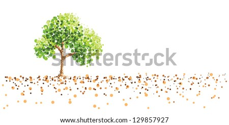 tree dot painting on ground - stock vector