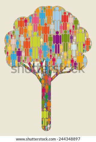 tree formed by people icons - stock vector