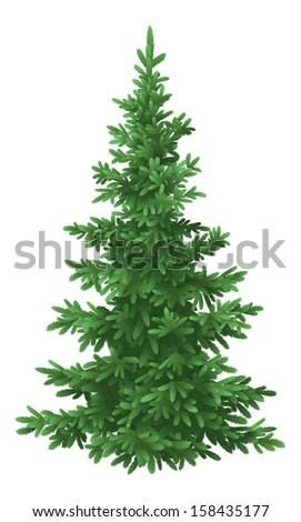 Tree, green Christmas fir tree, isolated on white background. Vecto - stock vector
