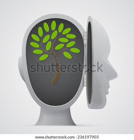 Tree growing inside a head silhouette. Vector illustration - stock vector