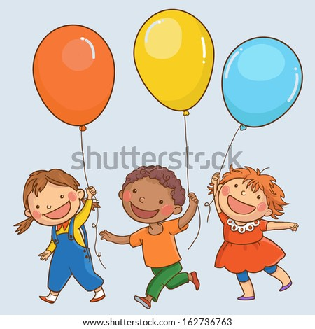Tree happy children with balloons  walking together. Back to School isolated objects on simple background for picture books, magazines, advertising, Birthday Cards and more. VECTOR.  - stock vector