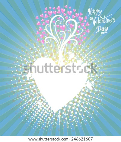 Tree Hearts frame Illustration of a Valentines Day - stock vector