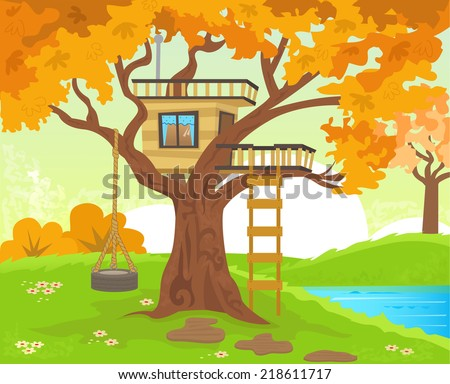 Tree house - Cute tree house with a tire swing, near the river. Eps10 - stock vector