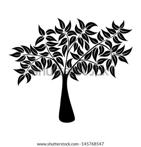 Tree icon with leaves isolated background. Vector file layered for easy manipulation and custom coloring. - stock vector