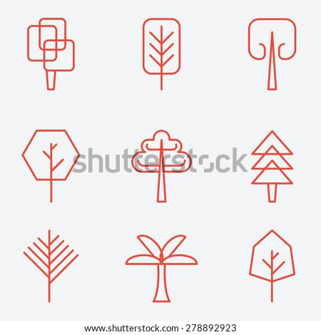 Tree icons, flat design, thin line style - stock vector