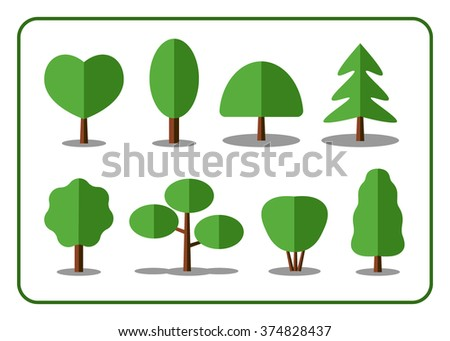 Tree icons set. Nature collection. Trendy and beautiful set of flat floral elements, isolated on white background. Include deciduous, coniferous trees, shrubs. Sprites for the game. Stock illustration - stock vector