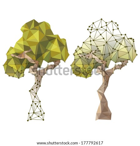 tree in low poly style - stock vector