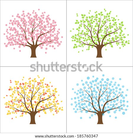 Tree in spring, summer, autumn and winter. Four seasons concept - stock vector