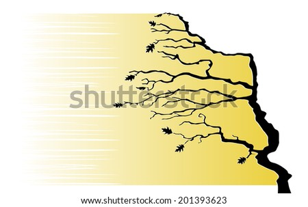 Tree in the wind. Vector illustration - stock vector