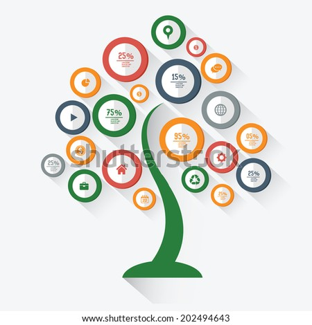 Tree Infographic design on white background,vector - stock vector