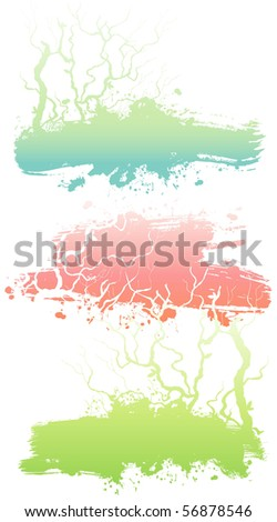 Tree ink banners - stock vector