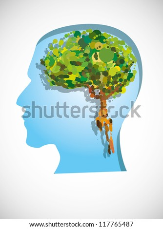 tree inside a head silhouette. Image contain transparency and various blending modes - stock vector