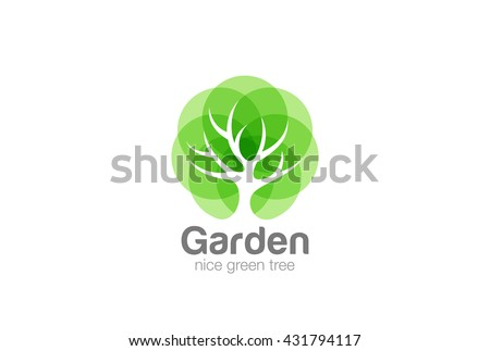 Tree Logo abstract design vector template Negative space style. Eco Green Organic Oak Plant Logotype concept icon. - stock vector
