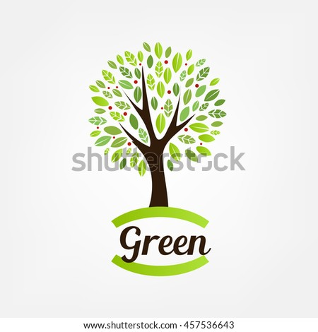 Tree logo design template - stock vector