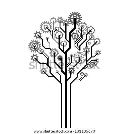 Tree made of gear wheels. A vector illustration - stock vector