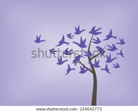 Tree made of swallow birds in shades of purple - stock vector