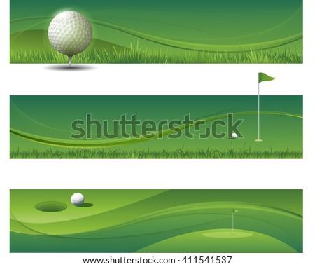 Tree modern green golf banners - stock vector