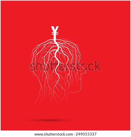 Tree of business shoot grow on human head symbol. Business and industrial idea concept. Vector illustration - stock vector