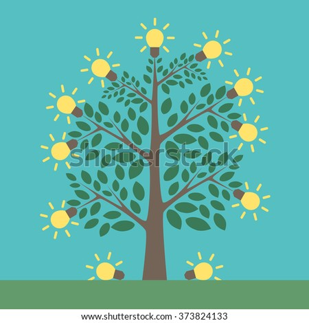 Tree of creative ideas with shining yellow lightbulbs on it and under it. Insight, inspiration, idea, invention and breakthrough concept. Flat style. EPS 8 vector illustration, no transparency - stock vector