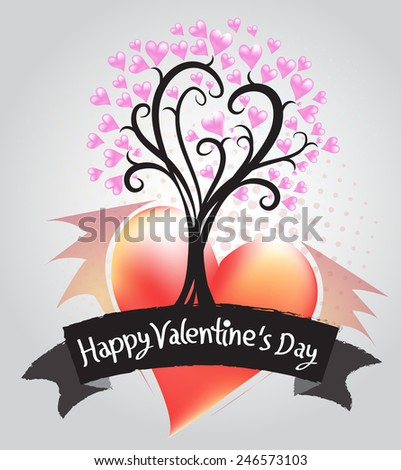Tree of Hearts Illustration of a Valentines Day - stock vector