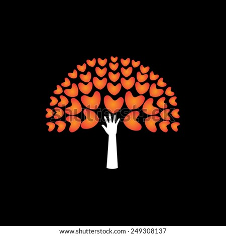 tree of love hearts and hand in support - concept vector icon. This graphic also represents harmony hope humaneness balance empathy expansion growth - stock vector