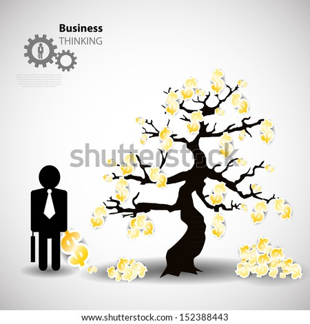 tree of money at autumn time with symbol of dollar - stock vector