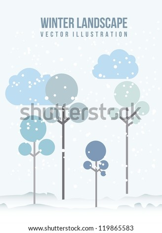 tree of winter over snow background. vector illustration - stock vector