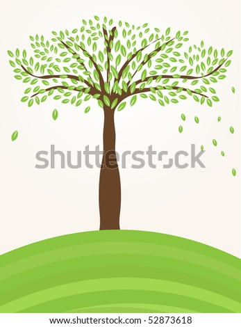 Tree on the green hill - stock vector