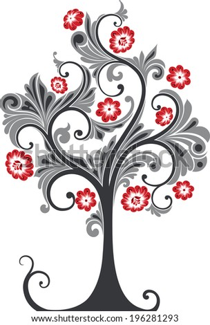 Tree ornament with flowers. - stock vector