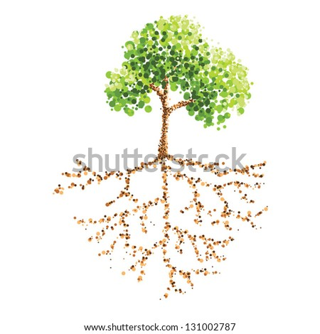 tree root dot painting - stock vector