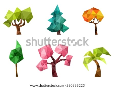 tree set - stock vector
