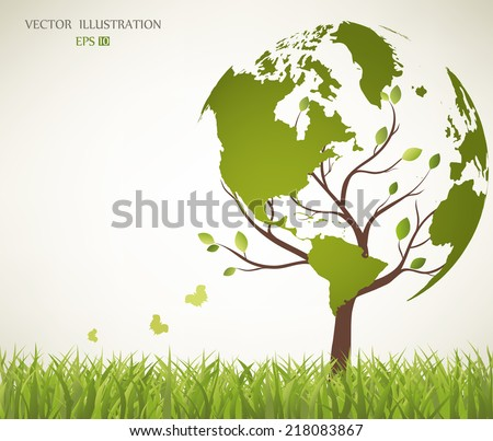 Tree shaped like the World map - stock vector