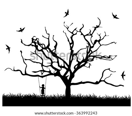Tree shaped silhouette 3 - vector illustration. - stock vector