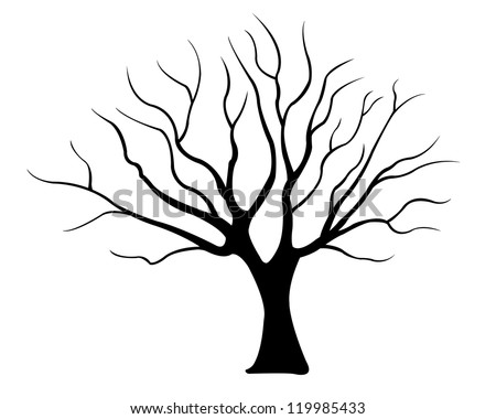 tree silhouette isolated on white - stock vector