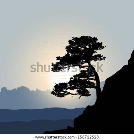 Tree silhouette on a mountain background - stock vector